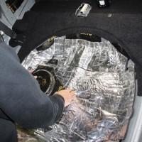 CX-8 BOSE サブウーハー 交換 パワードウーハー スペアタイヤ型 カーゴスペース フロア デッドニング 吸音 断熱