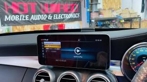 W205 Cクラス 後期型 12.3インチ CarPlay ワイヤレス ミラーリング 動画再生 ワイヤレスCarPlayドングル HOT WIRED