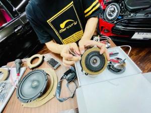 BMW MINI F60 R60 F56 F54 F55 ミニ スピーカー交換 音質改善 ツイーター ドアスピーカー デッドニング Mercury Car Audio Audible Physics セパレートスピーカー ウーハー交換 RAM3 3インチ 2WAYセパレート