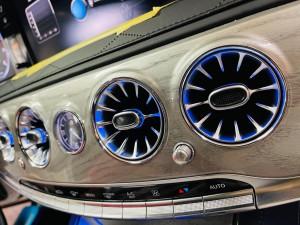 W222 タービンルック エアコン吹き出し口 LED アンビエントライト 連動 電動ロータリー3Dツイーター 取付方 ベンツ Sクラス 前期型