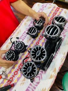 W222 タービンルック エアコン吹き出し口 LED アンビエントライト 連動 電動ロータリー3Dツイーター 取付方 ベンツ Sクラス 後期型