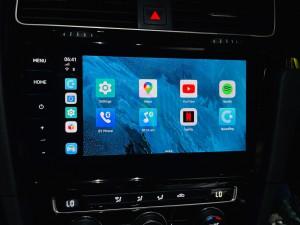 フォルクスワーゲン VW GOLF ゴルフ 純正CarPlay Apple CarPlay アンドロイドBOX アンドロイドAIボックス メディアボックス VISIT ANDROID9.0 S20 動画再生 Youtube 動画アプリ サブスクリプション サブスク Netflix プライムビデオ